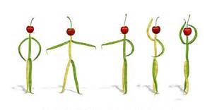 Vegetables in ballet positions